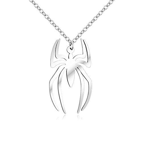 NOUMANDA Stainless Steel Spider Insect Pendant Necklace Charm Sipider Man Lover Gift for ()