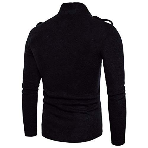 Personalidad Bolsillos Knit Abrigo Negro Breasted E Hombres Jacket Punto Casual Otoño Modernas Single Cardigans con De Abrigos Invierno RFYawPxtq