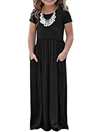 Girls Cap Sleeve Long Maxi Dress with Pocket Size 4-14 Years Old