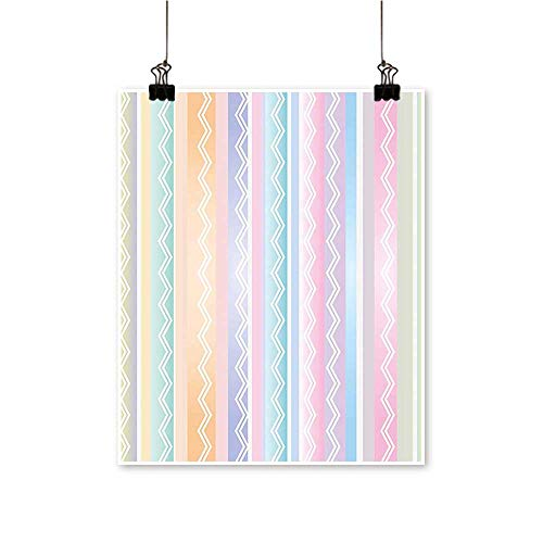 for Home Decoration Pastel Soft Tone Lines with Zigzag Figures Artistic Modern Graphic Print for Home Decoration No Frame,16