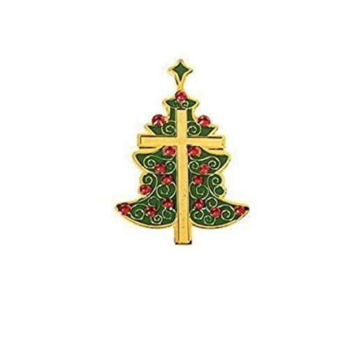 12 Green Christmas Tree Cross Pins Christmas Tree Pin Book