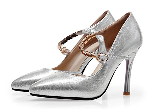 Vestido De Las Mujeres Atractivas De La Fiesta De Aísle La Correa Con Hebilla Del Dedo Del Pie Dorsay Stiletto Tacones Altos Bombas Zapatos De Plata