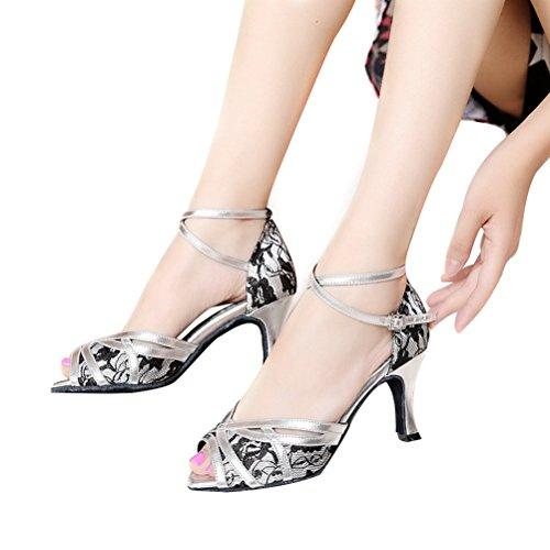 Bcln Donna Open Toe Sandali Tacchi Latino Salsa Tango Pratica Scarpe Da Ballo Con 2.75 Tacco Argento