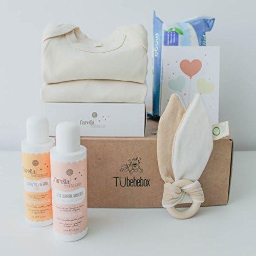 Canastilla ecológica recién nacido - Incluye body y pijama 100% algodón orgánico, mordedor de madera natural y cosméticos bebé naturales: Amazon.es: Bebé