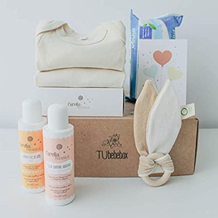 Canastilla ecológica recién nacido - Incluye body y pijama 100% algodón orgánico, mordedor de
