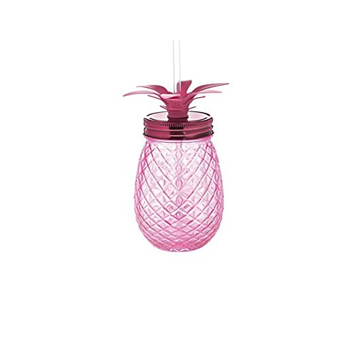 Slant Collections 16 oz Glass Pineapple Sipper Pink Mason Jar with Lid And Straw