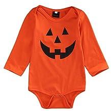 Baby Boys/Girls Costume Outfit Pumpkin Face Halloween One-Piece Bodysuit Romper