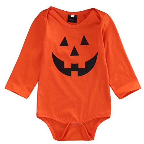 Pumpkin Face Halloween One-Piece Romper