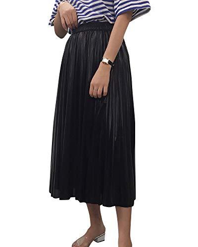 Jupe De Dames Taille lastique Taille Haute Coupe Slim Couleur Mtal Jupe Brillante Jupe Plisse Noir