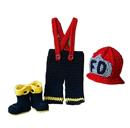 (Pinbo Newborn Boys Photography Prop Crochet Firefighter Fireman Hat Pants)