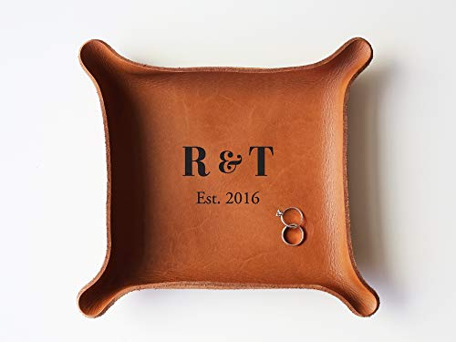 Personalized Leather - Leather Personalized Leather Catchall Tray (Large (7