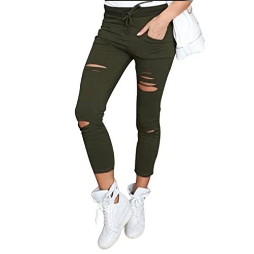 Wholesale Flying Rabbit Women's Ripped High Waisted Pants Knee Cut Jeggings Stretchy Skinny Slim Pencil Pants hot sale