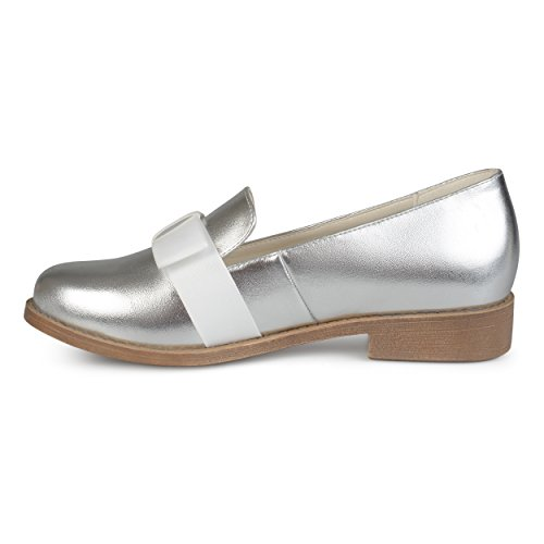 Journee Collection Womens Faux Leather Bow Loafer Flats Silver 14DjPkrA