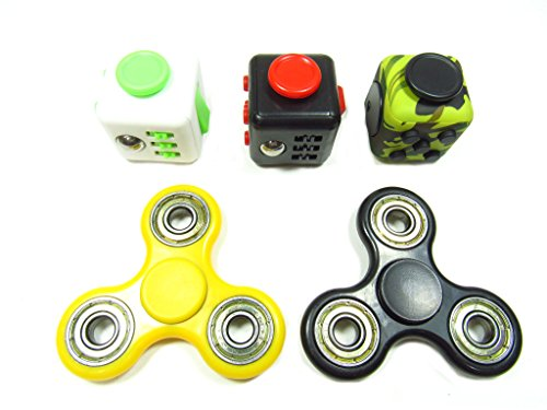 Oliasports Anxiety Attention Toy Spinner Fidget Cube for Children and Adults, 1 Piece, Black Green