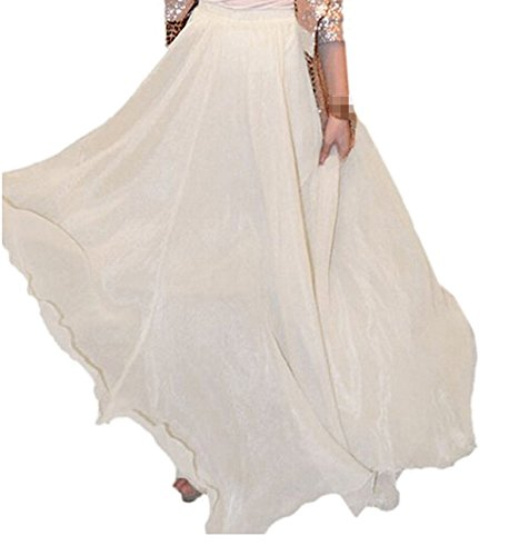 Xinliya Chiffon Pleated Midi Skirt Beach Long Dress Maxi Skirt Cocktail Dresses White free size