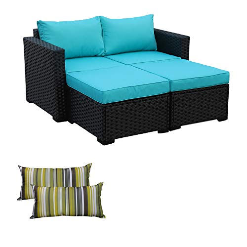 (3-Piece Patio Wicker Conversation Furniture Set,Outdoor PE Rattan Sectional Loveseat and Ottoman Sofa Set, Turquoise Cushion/Black Wicker)