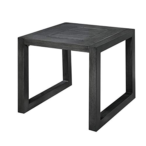 (Pemberly Row Tjorn Pewter Gray Aluminum Patio End Table)