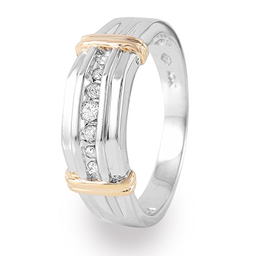 0.15 Carat Natural Diamond 10K Two Tone Gold Wedding Band for Men Size (0.15 Ct Natural Diamond)