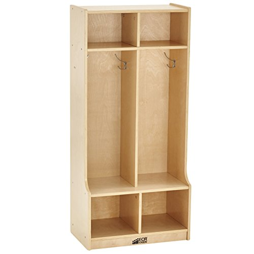 "ECR4Kids Birch School Coat Locker for Toddlers and Kids, 2-Section Coat Locker with Bench and Cubby Storage Shelves, Commercial or Personal Use, Certified and Safe, 48"" High, Natural"
