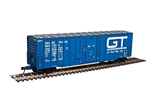 N GAUGE NSC 5111 50' Plug-Door Boxcar - Ready to Run -- Grand Trunk Western #598199 (blue, white, Large Good Track Road ()
