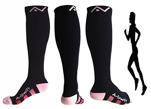 Compression Socks (1 pair) for Women & Men - Best Graduated Athletic Fit for Running, Nurses, Flight Travel, & Maternity Pregnancy - Boost Stamina, Circulation & Recovery (Black & Pink, S/M)