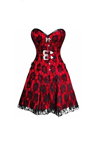 義務観光虹Red Satin & Black Net Overlay Gothic Burlesque Overbust Corset Dress