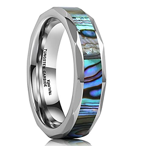 King Will NATURE 6mm Silver Tungsten Carbide Ring Unisex Wedding Band Abalone Shell Inlay Faceted Edges (Abalone Inlay Band Ring)
