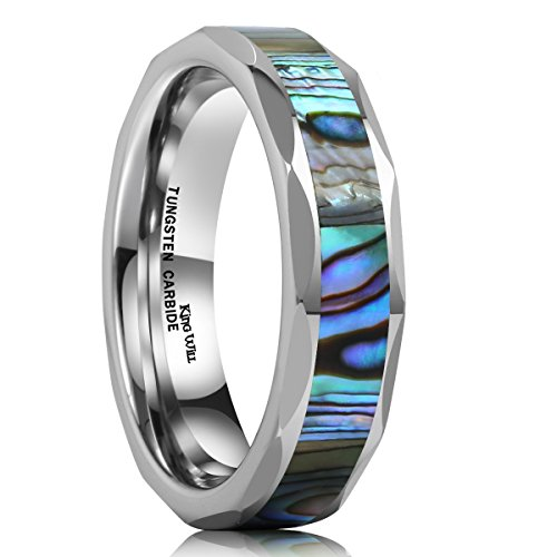 King Will 6mm Silver Tungsten Carbide Ring Unisex Wedding Band Abalone Shell Inlay Faceted Edges (9)