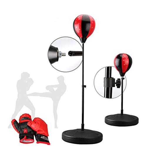 UMFun Children's Adjustable Height Vertical Fitness Venting Boxing Speed Ball Black,red