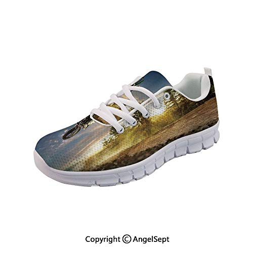Athletic Running Shoes on The Bike Racing Path Lightweight Sneakers