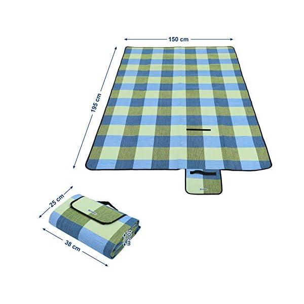 41zkmK8qhmL SONGMICS wÄrmeisoliert Wasserdichte Picknickdecke, Stranddecke mit Tragegriff , GCM50C, 195 x 150 cm, Blau