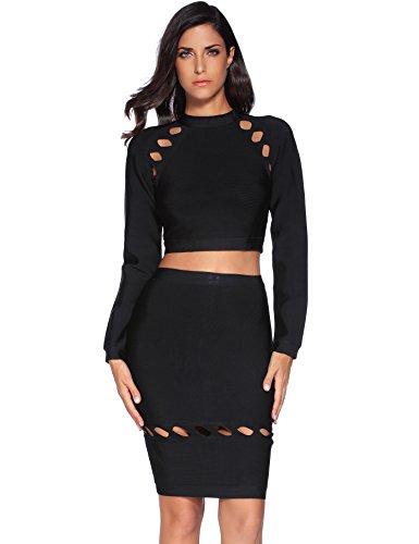 Meilun Women's Rayon 2 Pcs Long Sleeve Crop Top Split Skirt Set Bodycon Bandage Party Dress Large Black by Meilun (Image #3)
