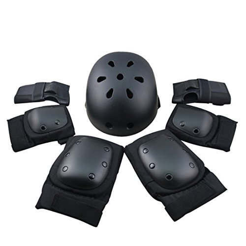 7Pcs Adult Sports Safety Protective Gear Set, RuiyiF Elbow Pad Knee Support Wrist Guard and Helmet for Adult Skateboard Skating Blading Cycling Riding - - Wrist Guard Set