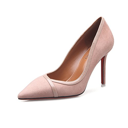 Women's Shoes Patent Leather Spring Summer Fall Heels Stiletto Heel Pointed Toe for Casual Office & Career Dress Black, Camel, Bare Powder (Color : C, Size : 39)