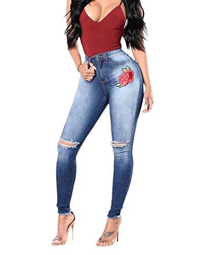 Pantaloni Vita Donna Denim Jeans Dritti Da Scuro Ricamato Stiramento Straight Logoro Alta Blu ZzfZIw15xq