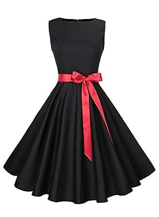 Anni Coco Women's Classic 1950s Vintage Hepburn Dresses Black X-Small