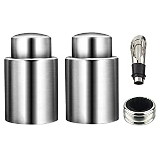 Wine Stoppers with Vacuum,Silicone Stainless Steel Preserve Bottle Stoppers Wine Accessories and Gifts for Wine Lovers