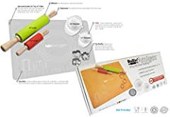"""1 Large Silicone Non Stick Baking / Rolling Mat 15.7"""" * 19.7"""" Mess Free! High Quality Silicone. Resists temperatures from -104° F to 446° F. BPA Free, FDA Approved, Dishwasher Safe. For non-slip cooking it sticks to many surfaces but it will ..."""