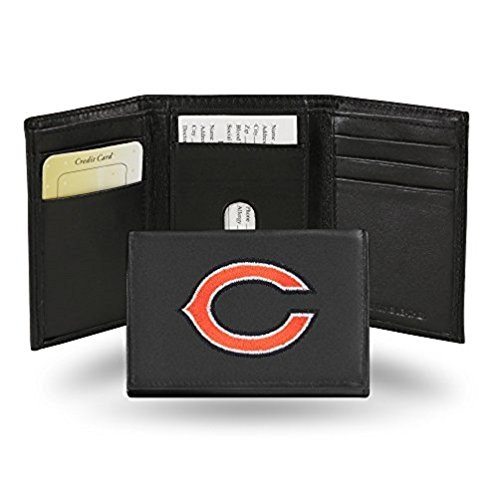 Rico Industries NFL Chicago Bears Embroidered Genuine Leather Trifold - Fold Wallet Bears Chicago Tri Leather