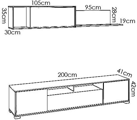 Madera 200x180x41 cm HOMEKIT Mueble sal/ón Comedor Moderno