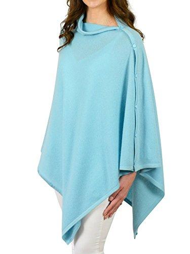 Mimi & Thomas Aqua Blue Pure Cashmere Button Poncho Travel Wrap Shawl by Mimi & Thomas