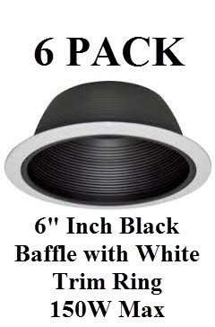 "6"" Inch Recessed Lighting Black Baffle With White Trim Ring Replaces Halo Juno Capri - 150w - 6 Pack"