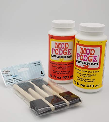 Complete Decoupage Kit - Two 16oz Bottles of Mod Podge Waterbase Sealer/Glue/Finish (Matte Finish + Gloss Finish) with 4-pk Foam Brush ()