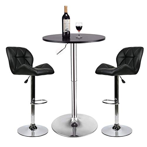 Pub Table Set 3 Piece – 24 inch Round Table with 2 Leatherette Chairs – Height Adjustable Black Barstools Black Pub Table