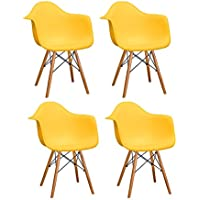 Ergo Furnishings Mid-Century Eiffel Tower Molded Plastic Armchair Dining Chair Wood Base (Set of 4), Yellow