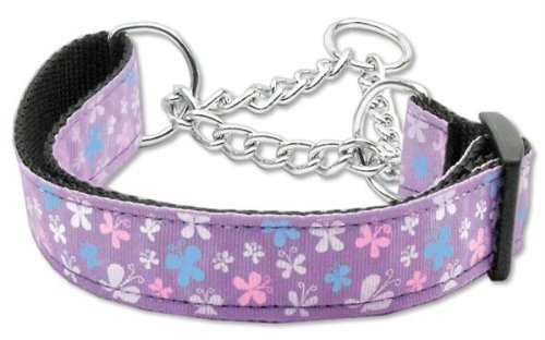 Mirage Pet Products Martingale Butterfly Nylon Ribbon Collar, Medium, Lavender (Martingale Bandana)