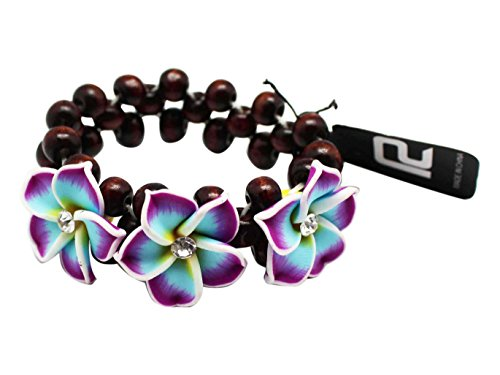 - Violet and Light Blue Mix Tropical Flower Bracelet With Brown Beads