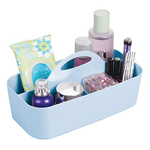 (mDesign Plastic Makeup Storage Organizer Caddy Tote - Divided Basket Bin, Handle for Eyeshadow Palettes, Nail Polish, Makeup Brushes, Cosmetic and Shower Essentials - Large - Light Blue)