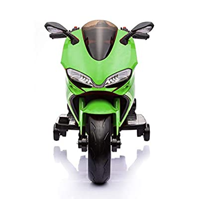Fit Right 12V Kids Bike Ride On Toys Dirt Bike Motorcycle, Electric Mini Bike with Bluetooth, LED Wheels and Traning Wheels, Support Up to 66 lbs (Green): Sports & Outdoors