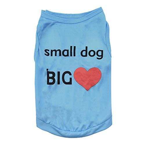 vmree Dogs Boys Girls Shirts Tank Top Small Dog Big Print Doggie Cotton Costumes T-Shirt Pet Clothes Vest Apparel for Small Extra Small Medium Large Extra Large Dog